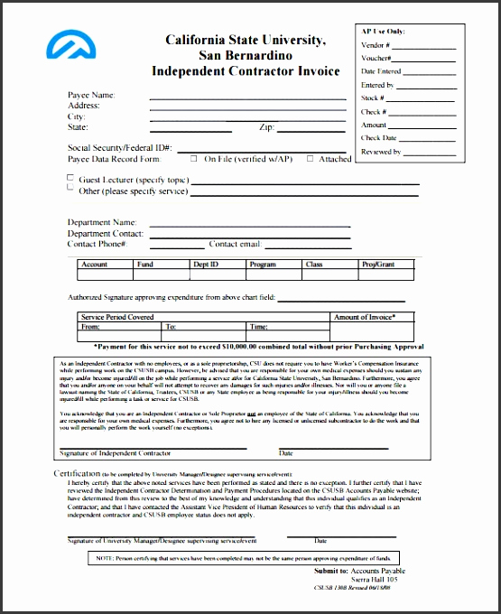 Independent Contractor Invoice Template Elegant 10 Contractor Invoice Template Line Sampletemplatess