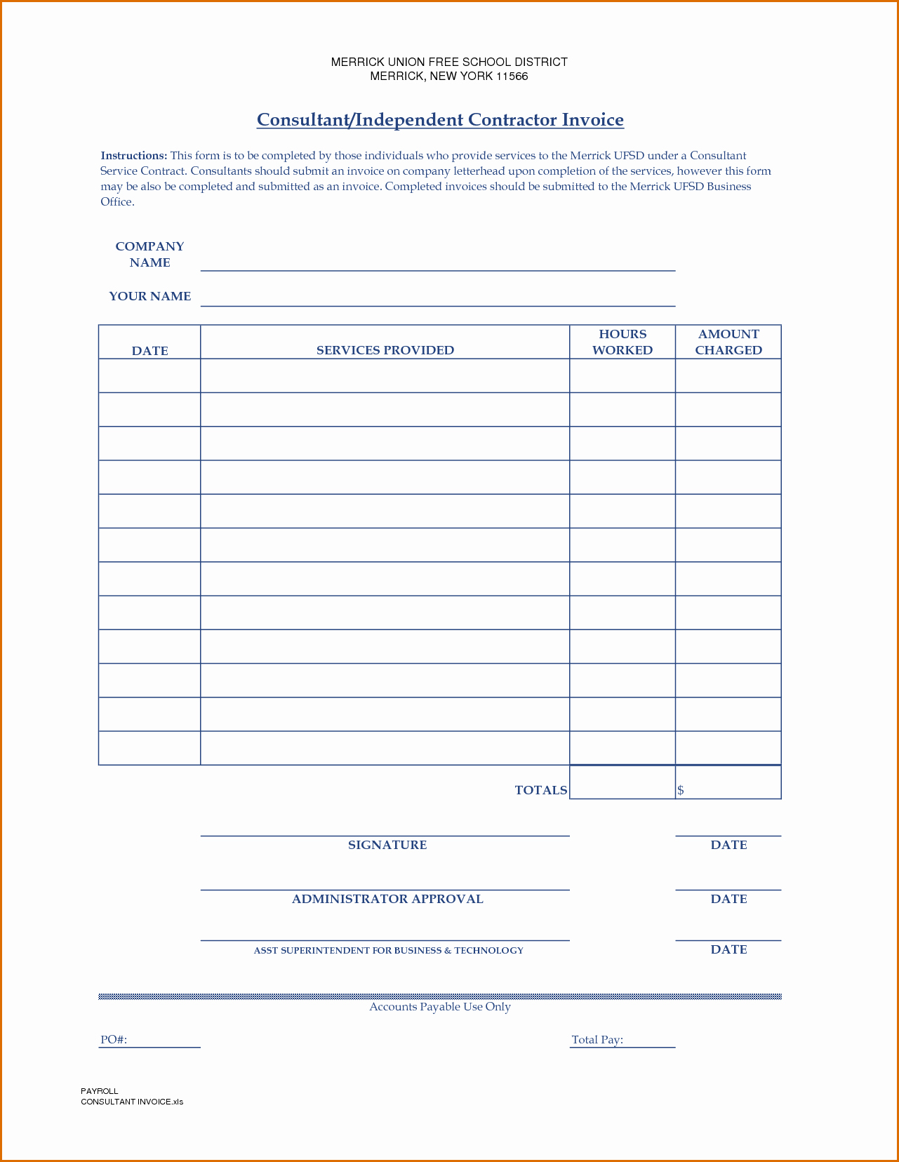 Independent Contractor Invoice Template Fresh 10 Independent Contractor Invoice Template