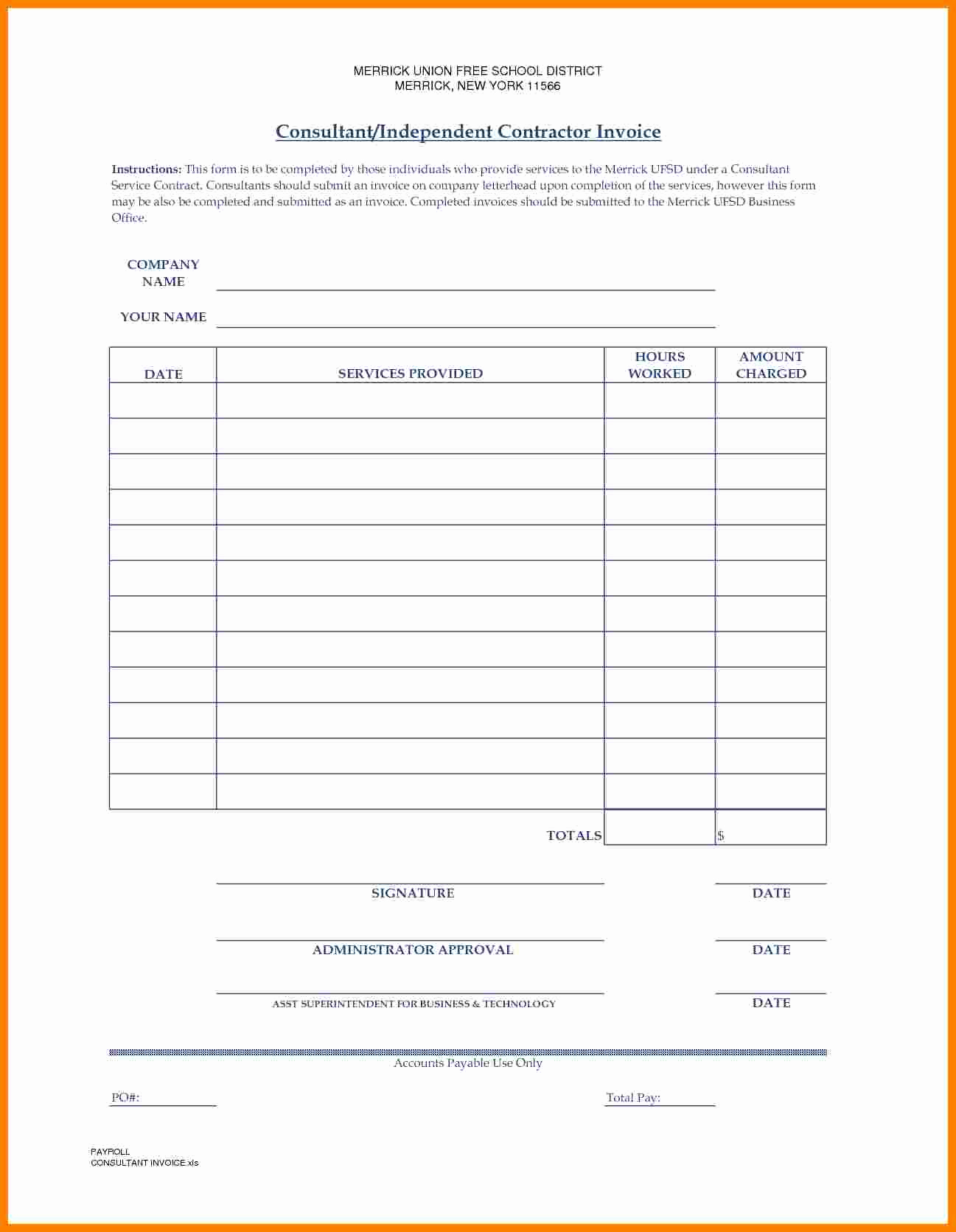 Independent Contractor Invoice Template Lovely 7 Independent Contractor Invoice