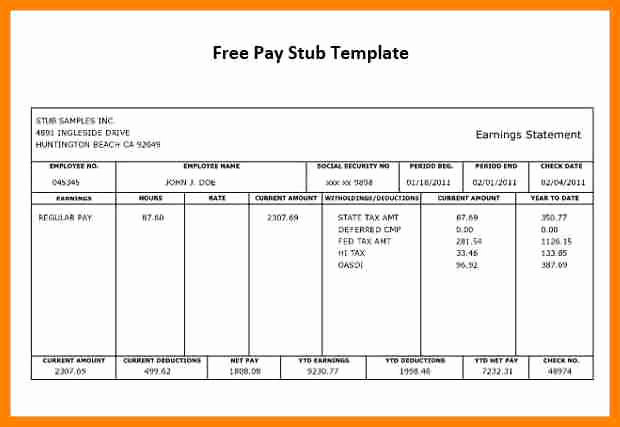 Independent Contractor Pay Stub Template Unique 12 Free Fake Check Stubs Template