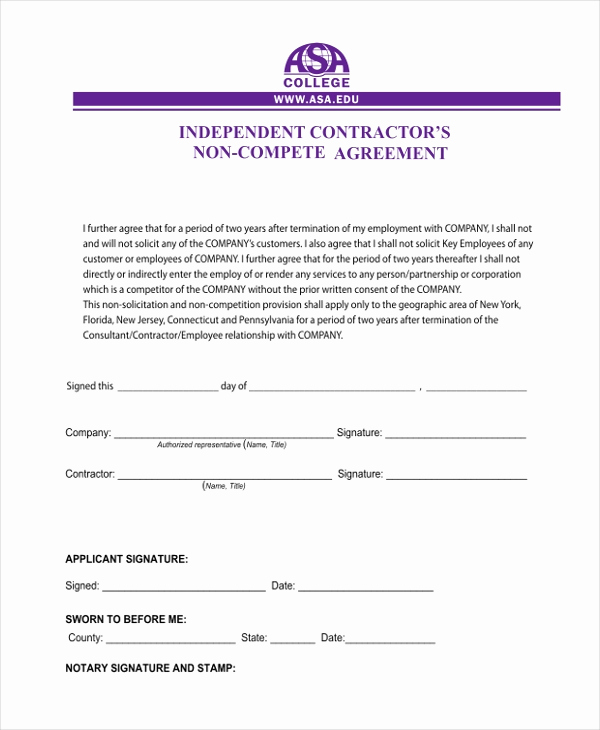 Independent Contractor Sales Commission Agreement Beautiful Sample Independent Contractor Agreement form 11 Free