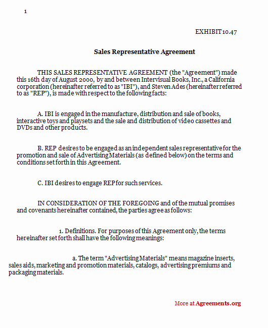 Independent Contractor Sales Commission Agreement Fresh Sales Representative Agreement
