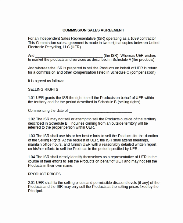 Independent Contractor Sales Commission Agreement Lovely 9 Mission Sales Agreement Templates