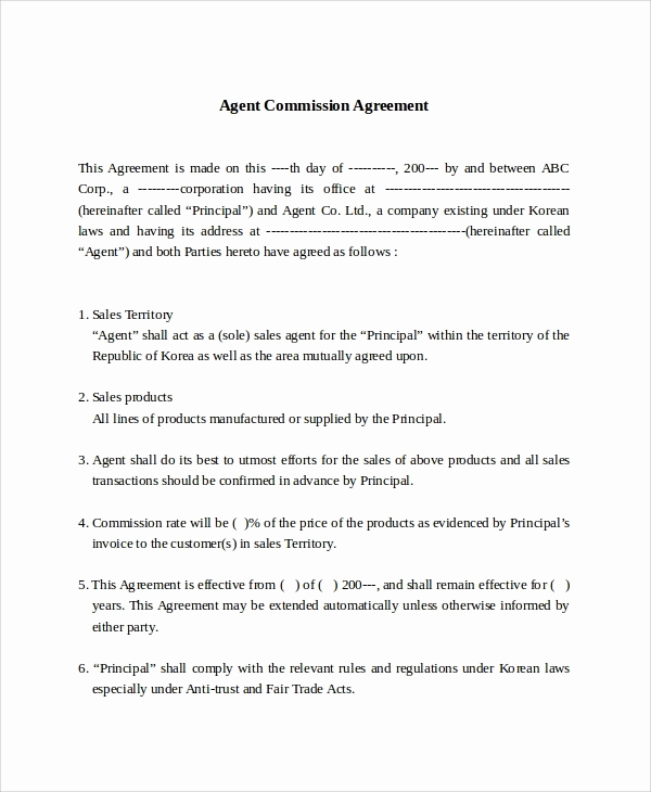 Independent Contractor Sales Commission Agreement Luxury Sales Mission Structure Template 2018