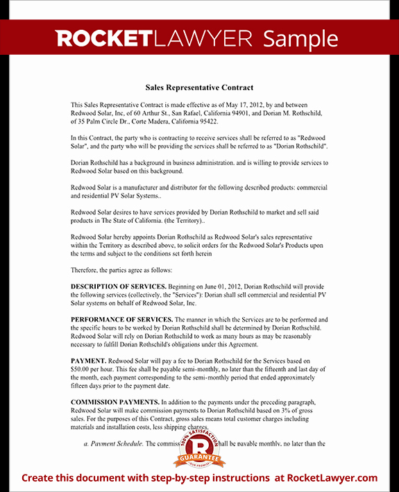 Independent Contractor Sales Commission Agreement Unique Sales Representative Contract Template Agreement with Sample