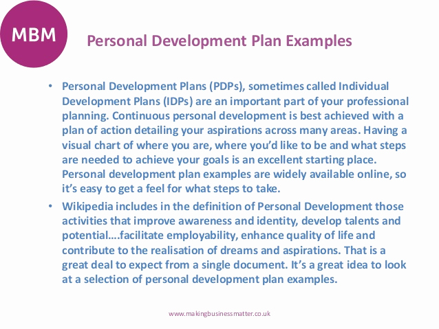 Individual Development Plan Examples Awesome Personal Development Plans