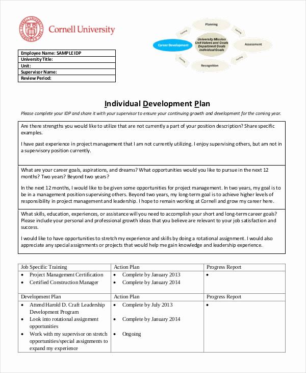 Individual Development Plan Examples Best Of 15 Individual Development Plan Templates Free Sample