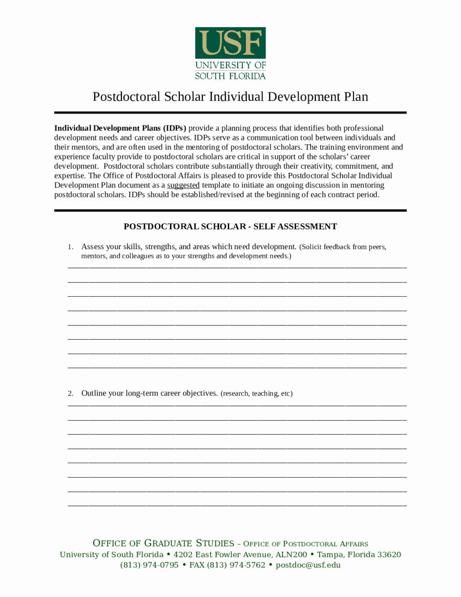 Individual Development Plan Examples Unique Personal Development Plan Template How to Write Personal