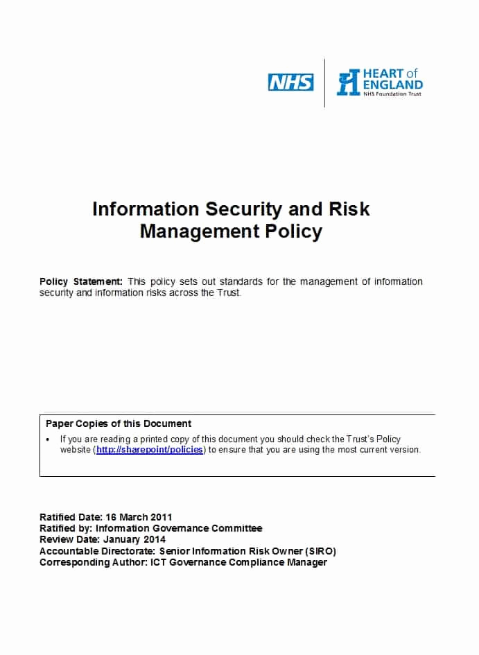 Information Security Policy Template Lovely 42 Information Security Policy Templates [cyber Security