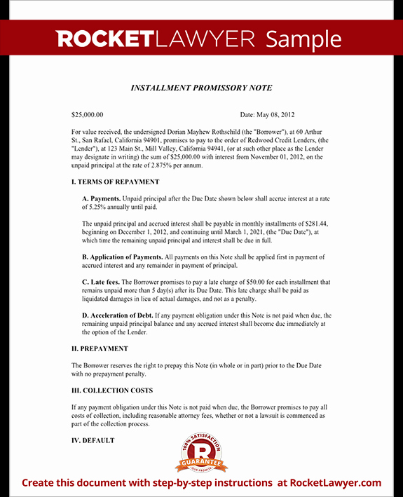 Installment Payment Agreement Template Inspirational Installment Promissory Note Promissory Note with
