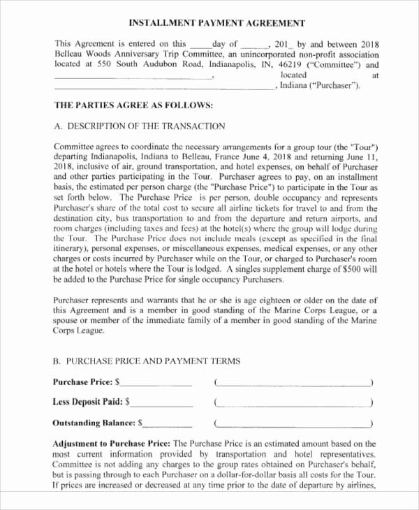 Installment Payment Agreement Template Inspirational Printable Agreement Samples