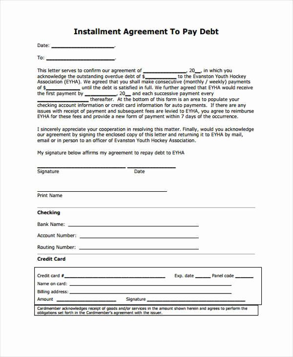 Installment Payment Agreement Template Luxury 7 Installment Agreement form Samples Free Sample