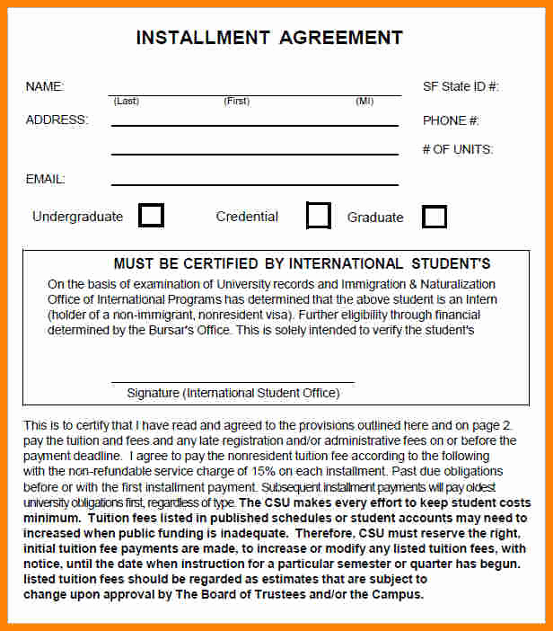 Installment Payment Agreement Template Luxury 7 Installment Payment Plan Agreement Template