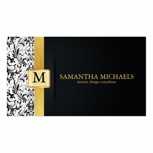Interior Design Business Cards Inspirational Damask Monogram Interior Design Business Cards