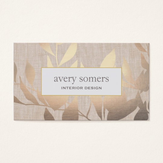 Interior Design Business Cards Inspirational Elegant Gold Leaves Modern Interior Design Beige Business