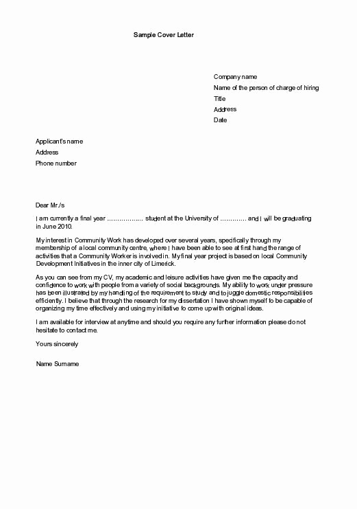 Internship Cover Letter Sample Awesome Sample Cover Letters for Employment