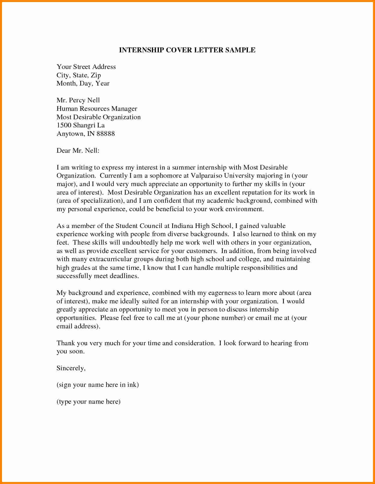 Internship Cover Letter Sample Unique 7 Statement Of Interest Cover Letter Example