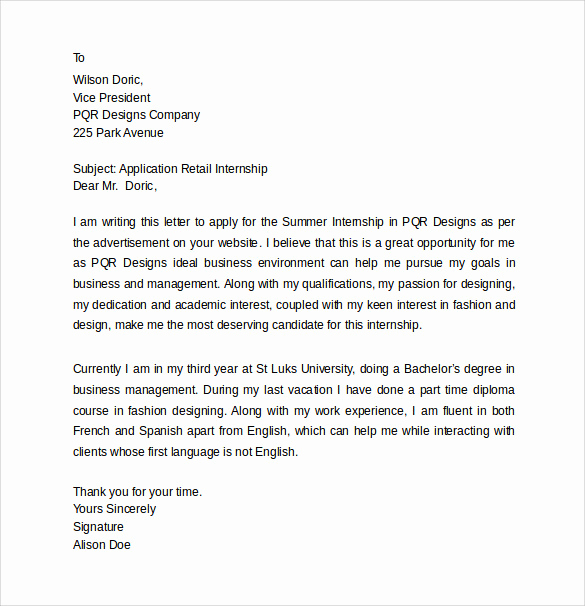 Internship Cover Letter Template Fresh 13 Internship Cover Letters – Samples Examples & formats