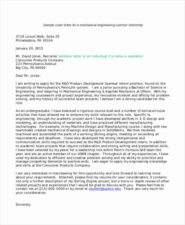 Internship Cover Letter Template Unique 9 Internship Cover Letter Free Sample Example format