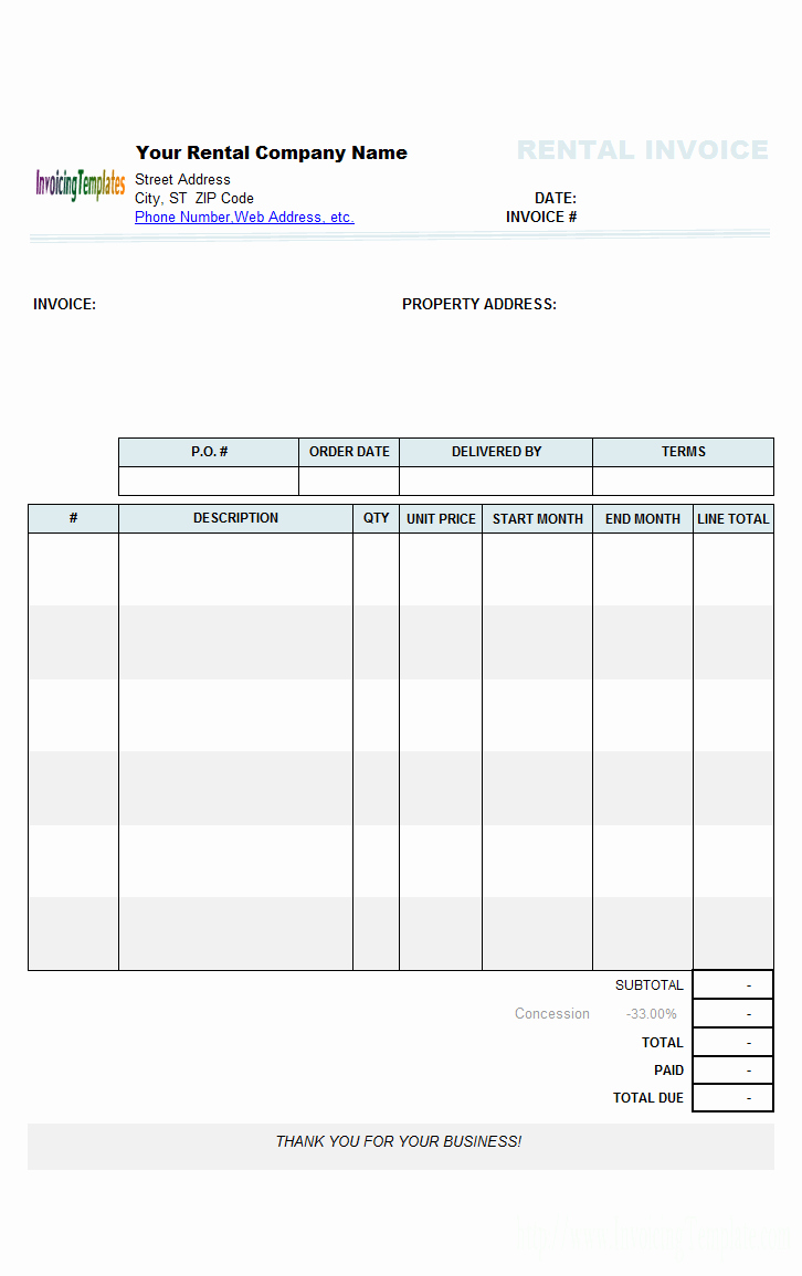 Invoice format In Word Best Of Rental Invoice Templates