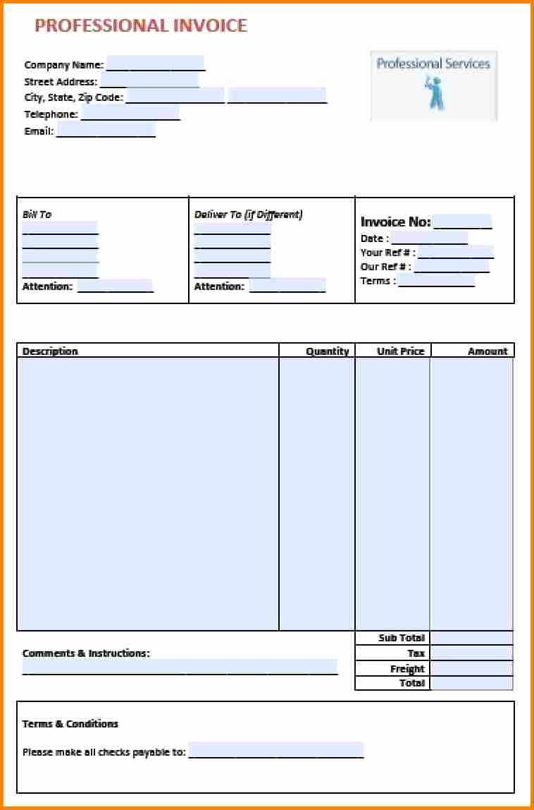 Invoice format In Word Lovely 4 Bill format In Word for Professional Services