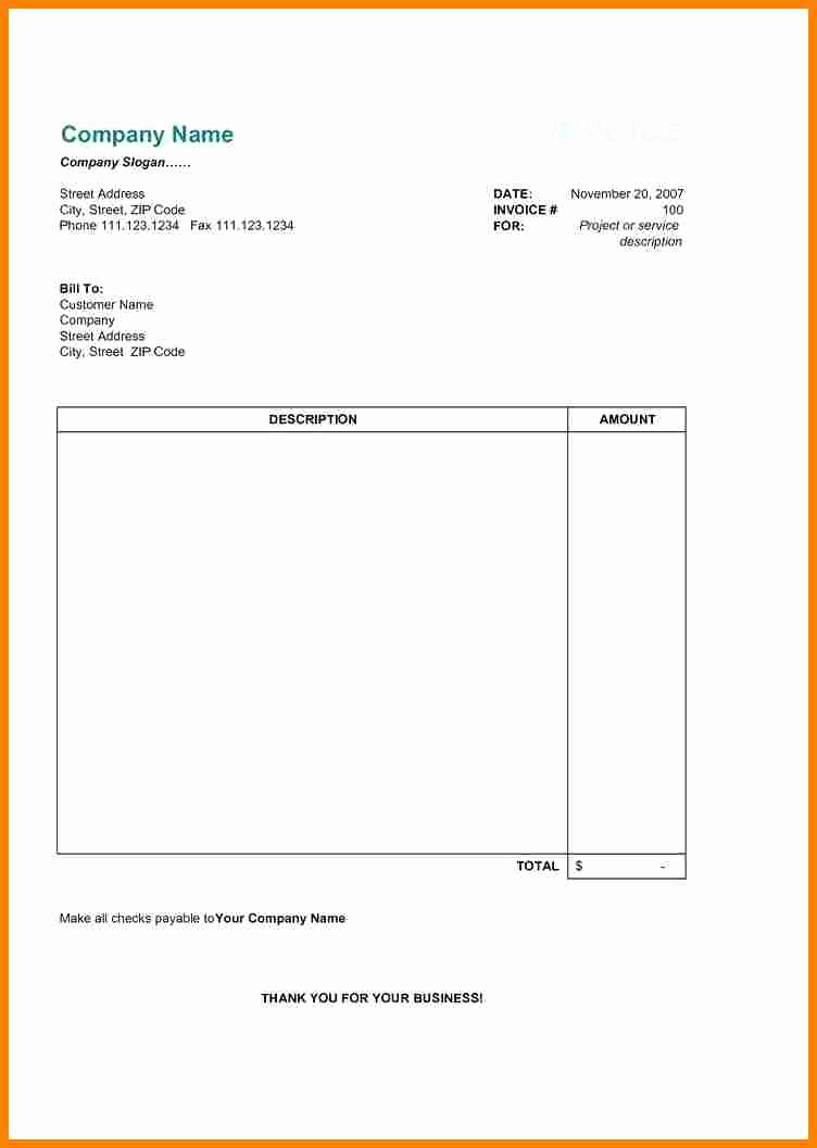 Invoice format In Word Luxury 7 Professional Bill format In Word
