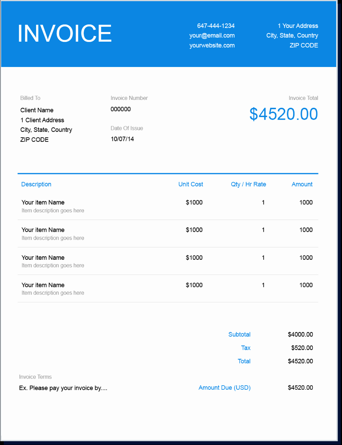 Invoice format In Word New Invoice Template Send In Minutes