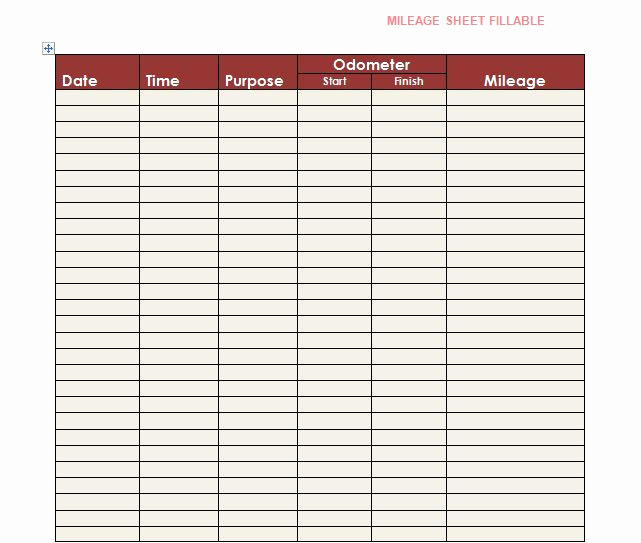 Irs Mileage Log Template Awesome 30 Printable Mileage Log Templates Free Template Lab