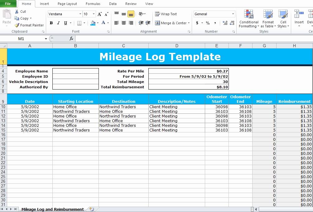 Irs Mileage Log Template Elegant Mileage Log Excel Template Excel Tmp