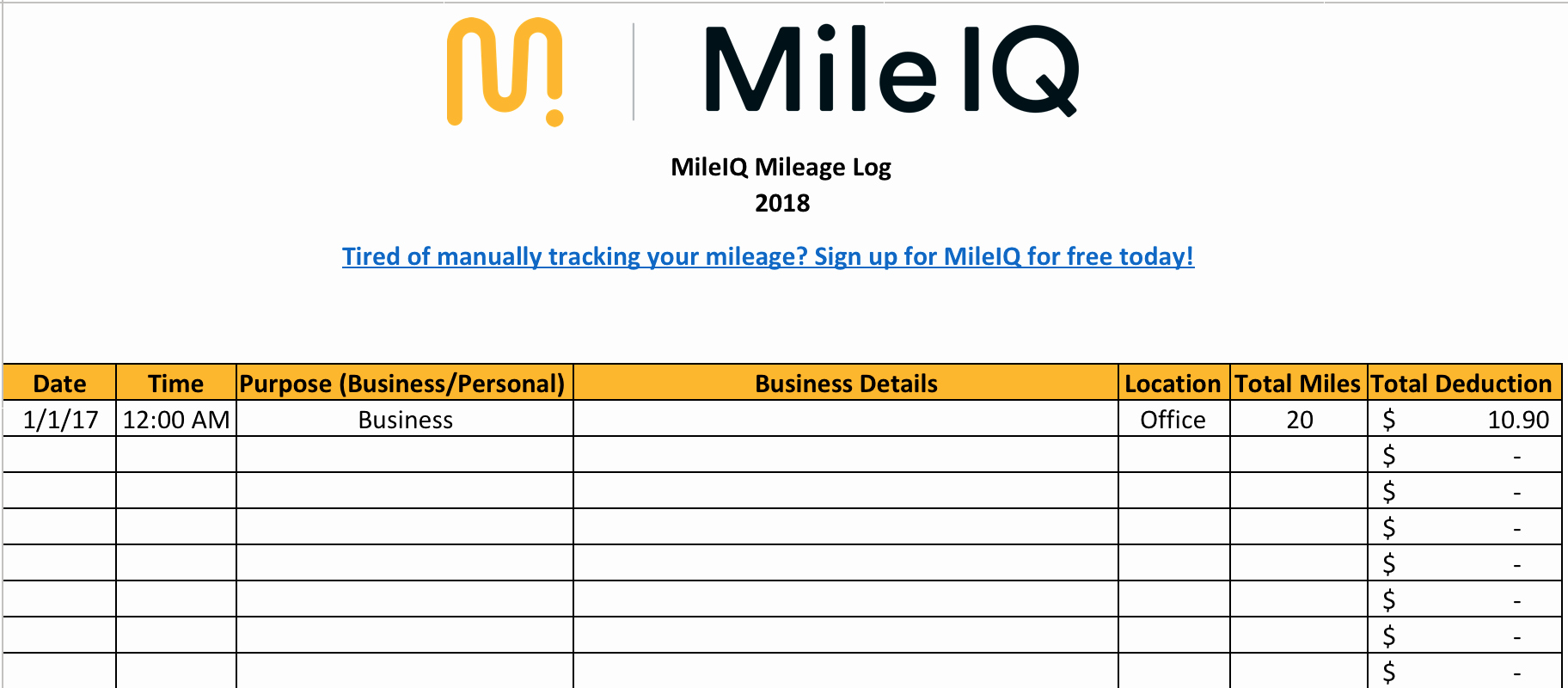 Irs Mileage Log Template Luxury Free Mileage Log Template for Taxes Track Business Miles