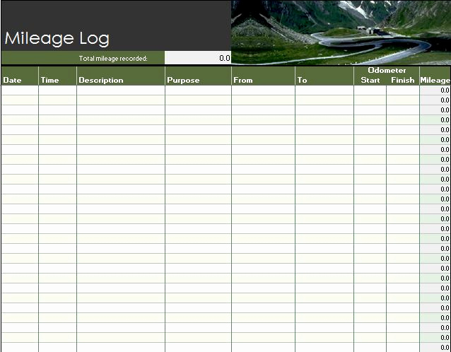 Irs Mileage Log Template New 30 Printable Mileage Log Templates Free Template Lab