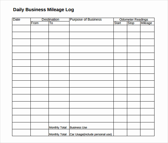 Irs Mileage Log Template Unique Mileage Log Template 14 Download Free Documents In Pdf Doc