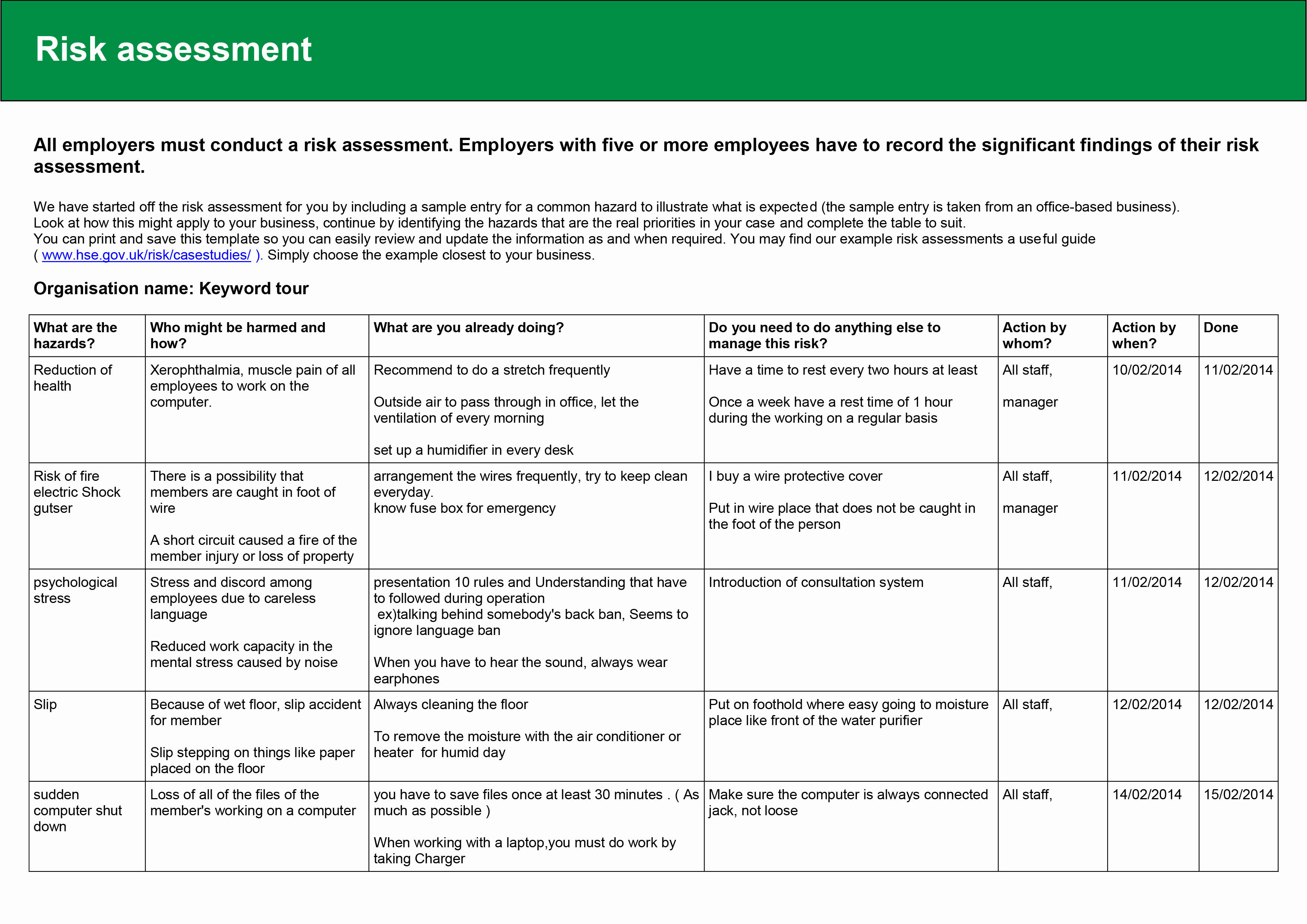 It Risk assessment Template New February 2014 – Kylie