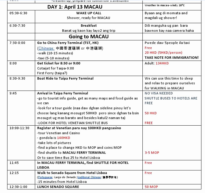 Itinerary Template Google Docs Awesome Personal Travel Itinerary Template Google Search
