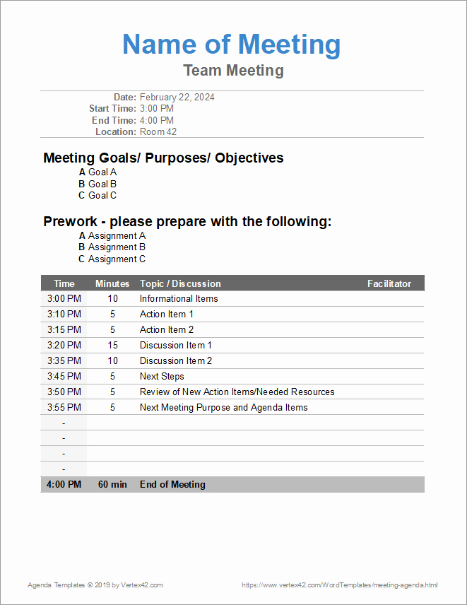 Itinerary Template Google Docs Beautiful 10 Free Meeting Agenda Templates