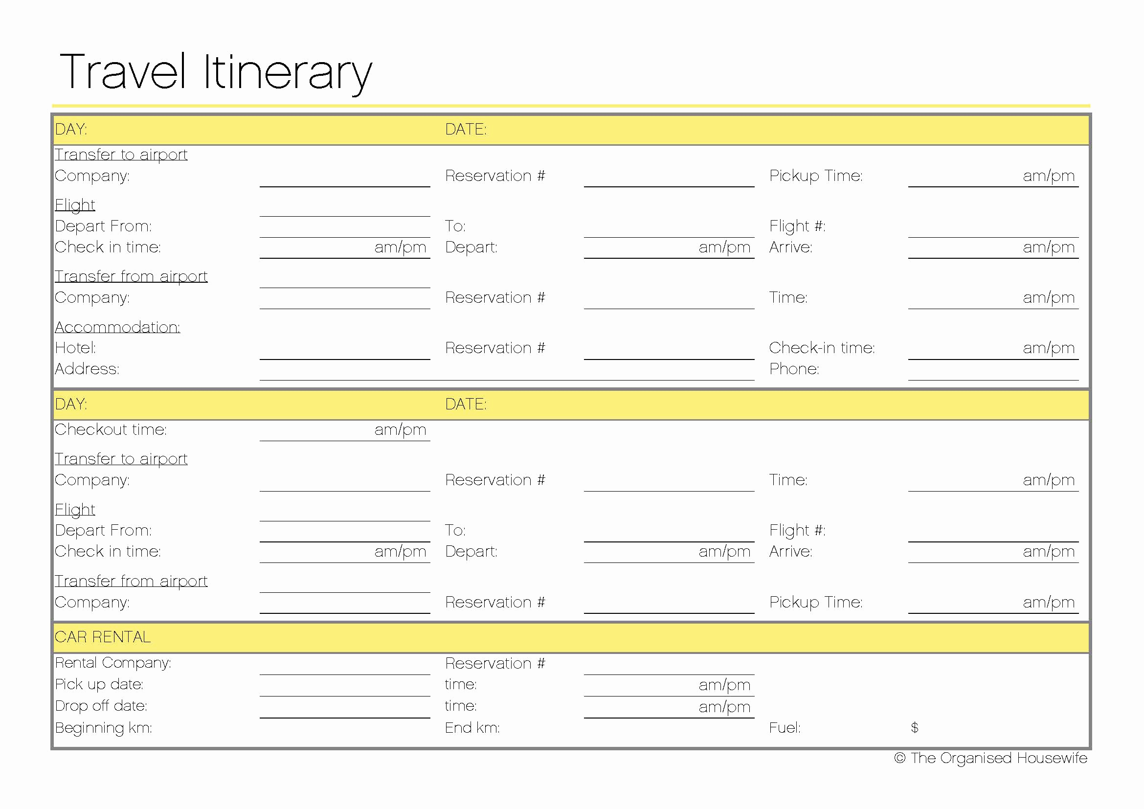 Itinerary Template Google Docs Fresh Free Printable Travel Itinerary the organised Housewife