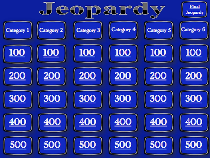 Jeopardy Powerpoint Template 5 Categories Awesome Jeopardy Template Blank