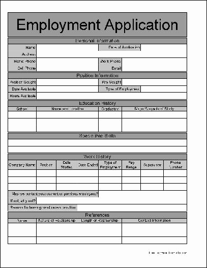 Job Application form Pdf Awesome Free Wide Row Job Application From formville