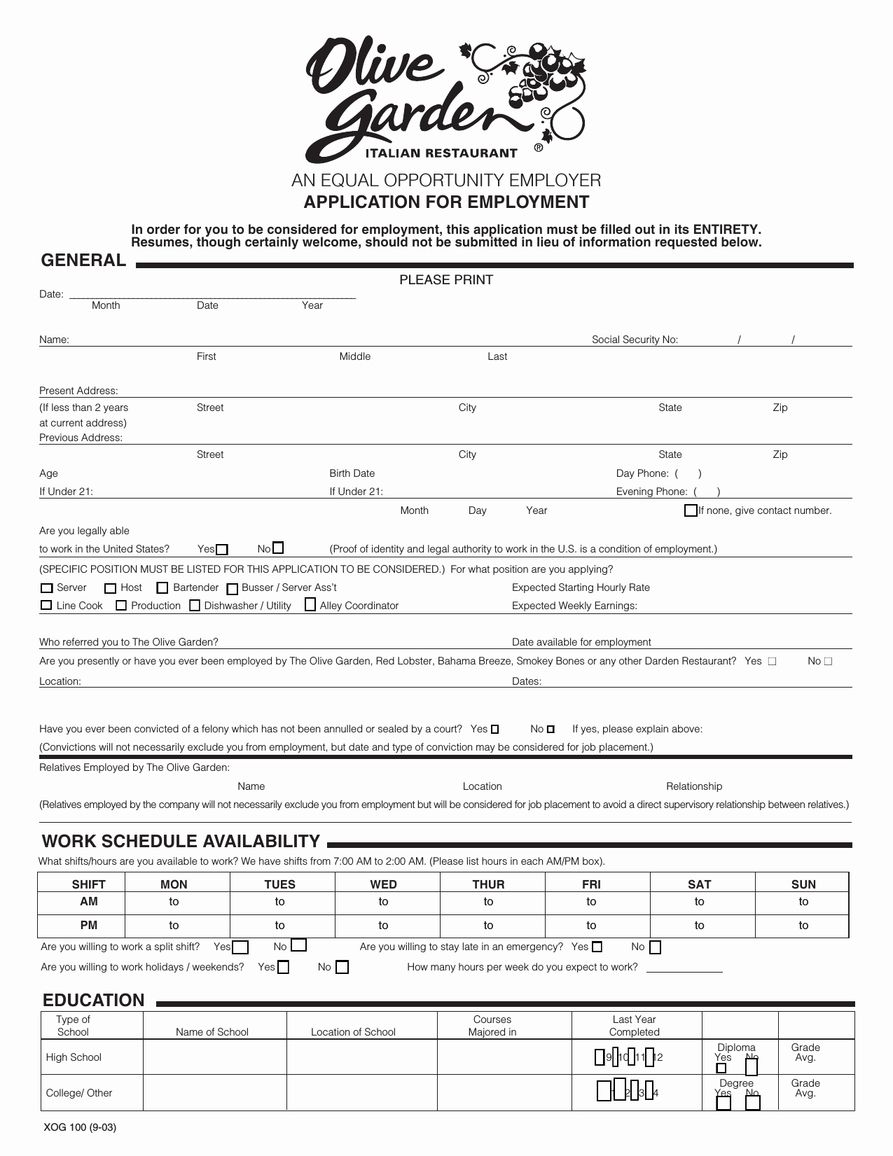 Job Application form Pdf Best Of Download Olive Garden Job Application form – Careers