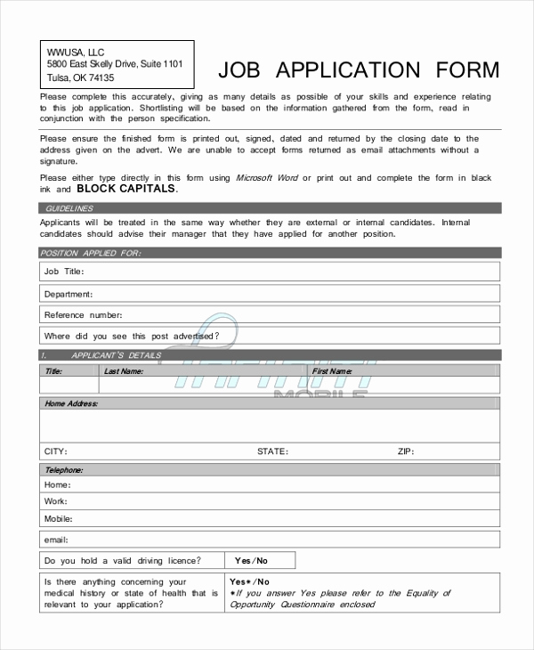 Job Application form Pdf Lovely Sample Generic Job Application form 9 Free Documents In