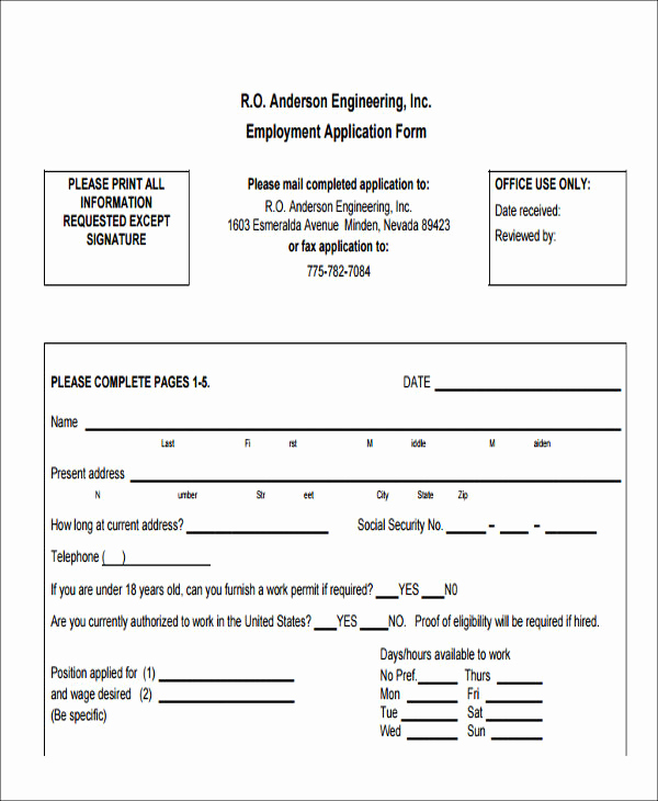 Job Application form Pdf Luxury 49 Job Application form Templates