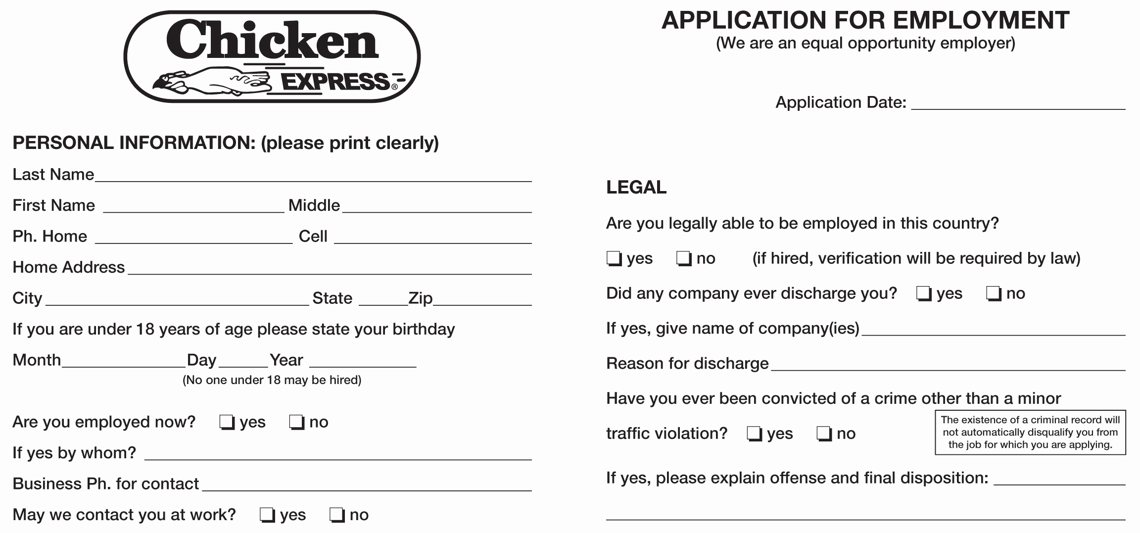 Job Application form Pdf Luxury Chicken Express Job Application Printable Employment Pdf