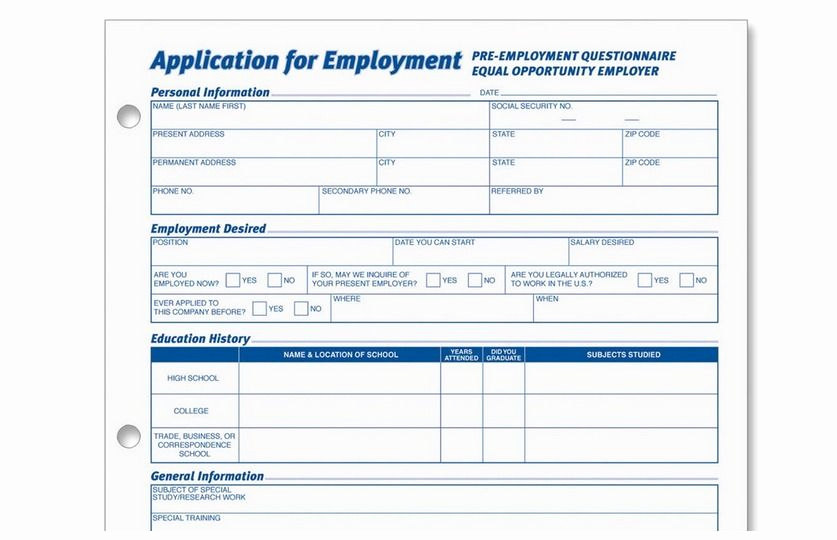 Job Application form Pdf New Generic Employment Application form