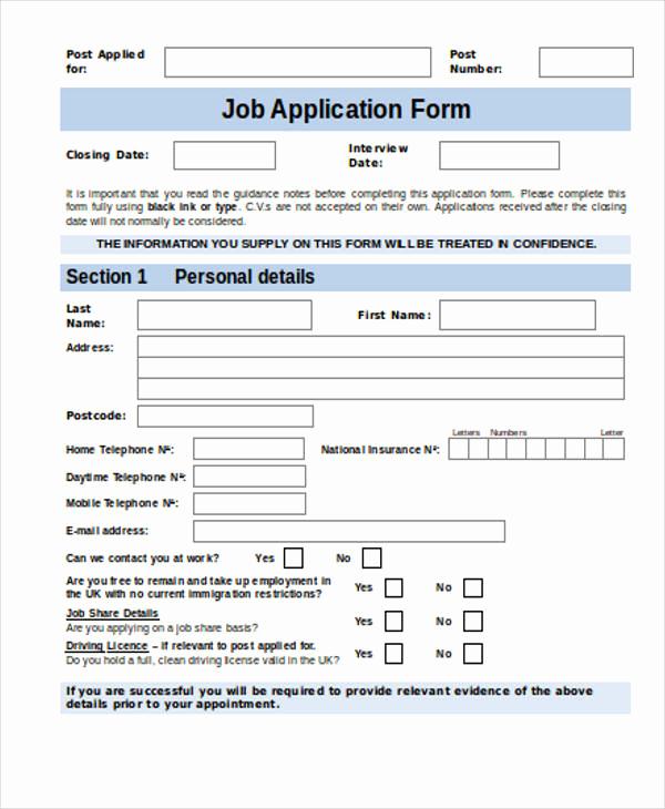 Job Application form Sample Fresh 35 Free Job Application form Template