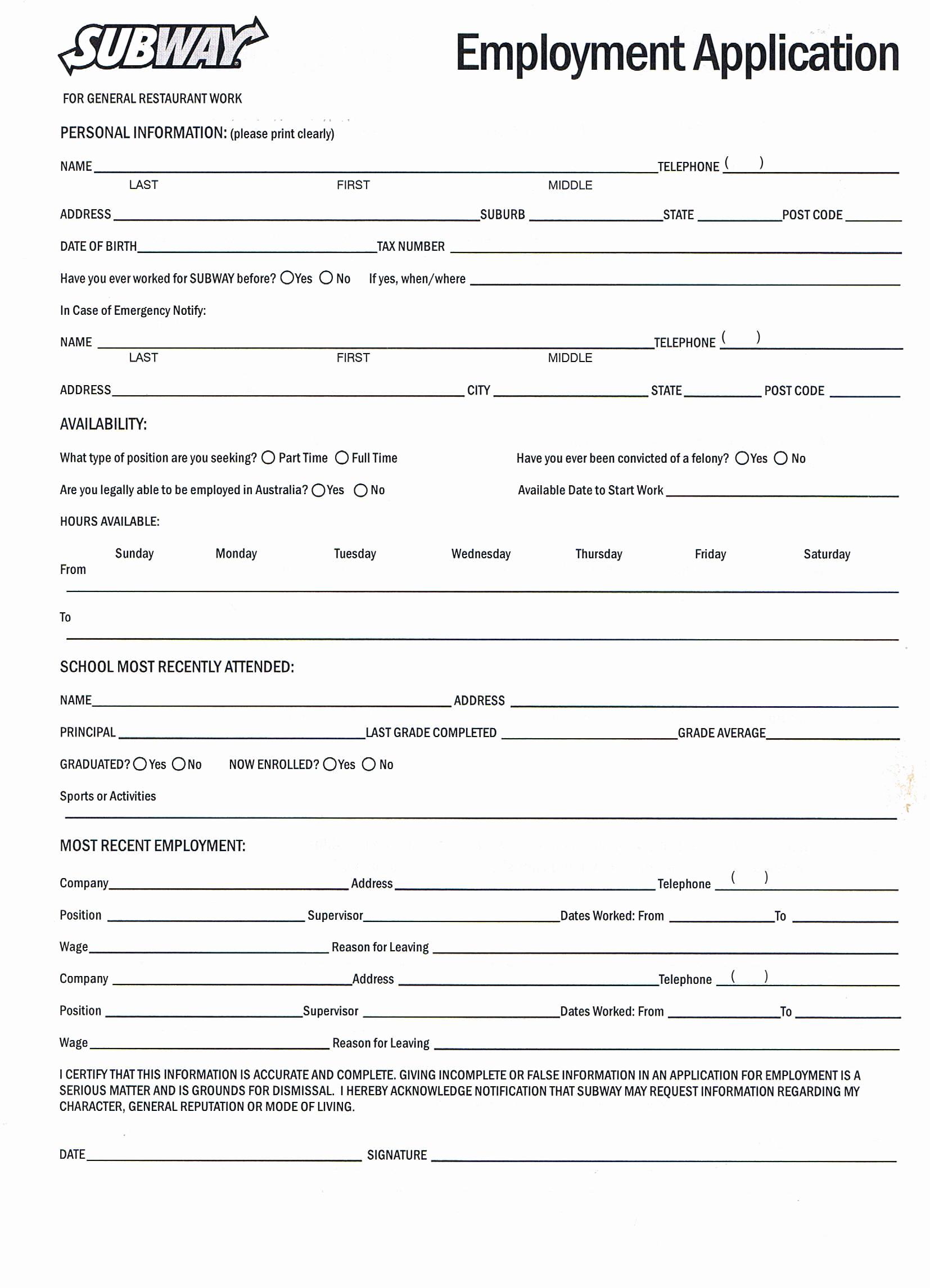 Job Application form Sample Luxury Printable Job Application forms Online forms Download and