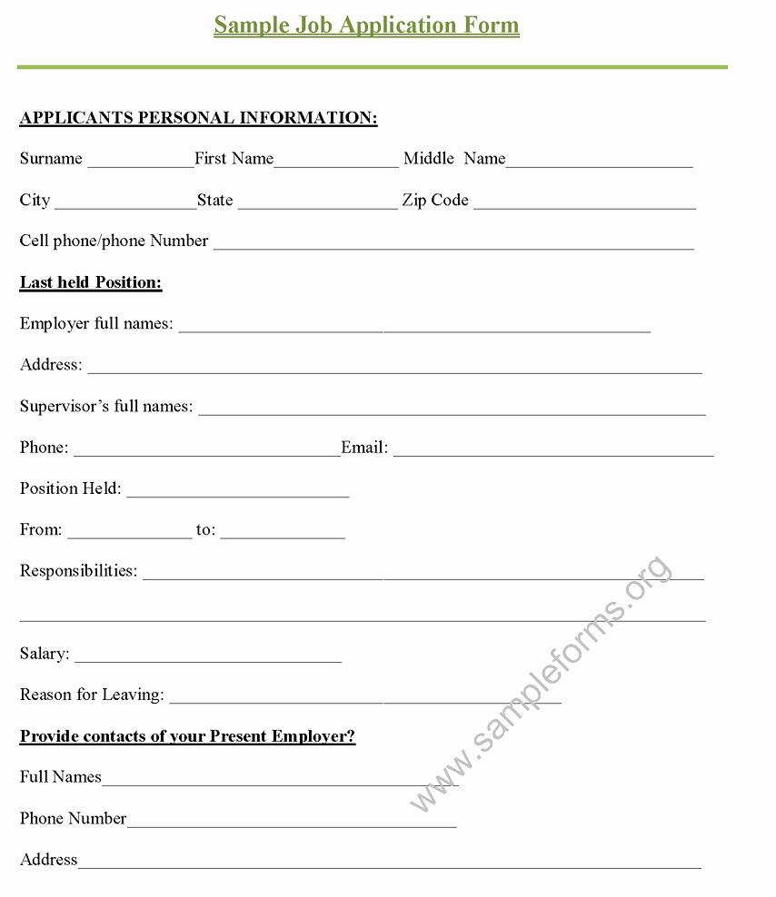 Job Application form Sample Unique Sample Job Application form