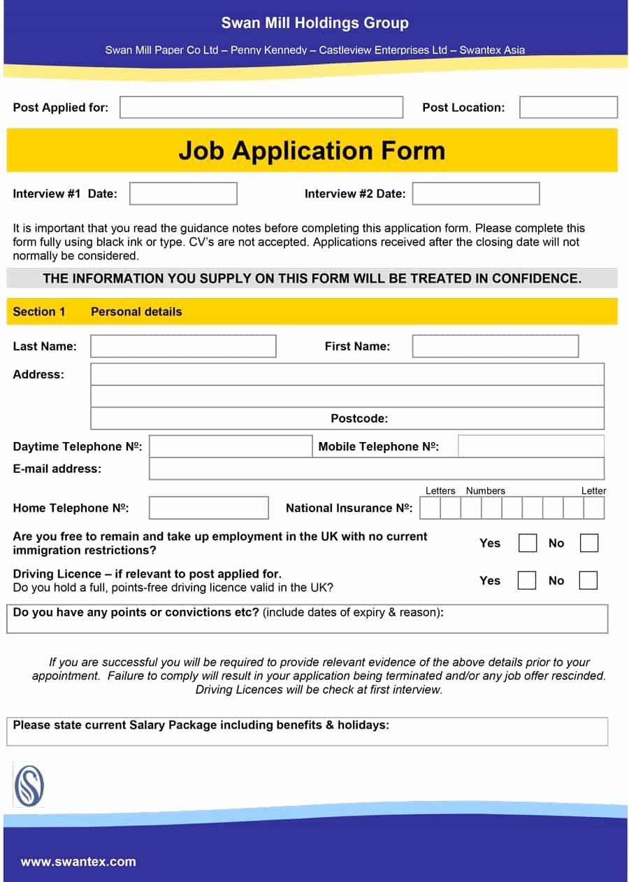 Job Application form Template Beautiful 50 Free Employment Job Application form Templates