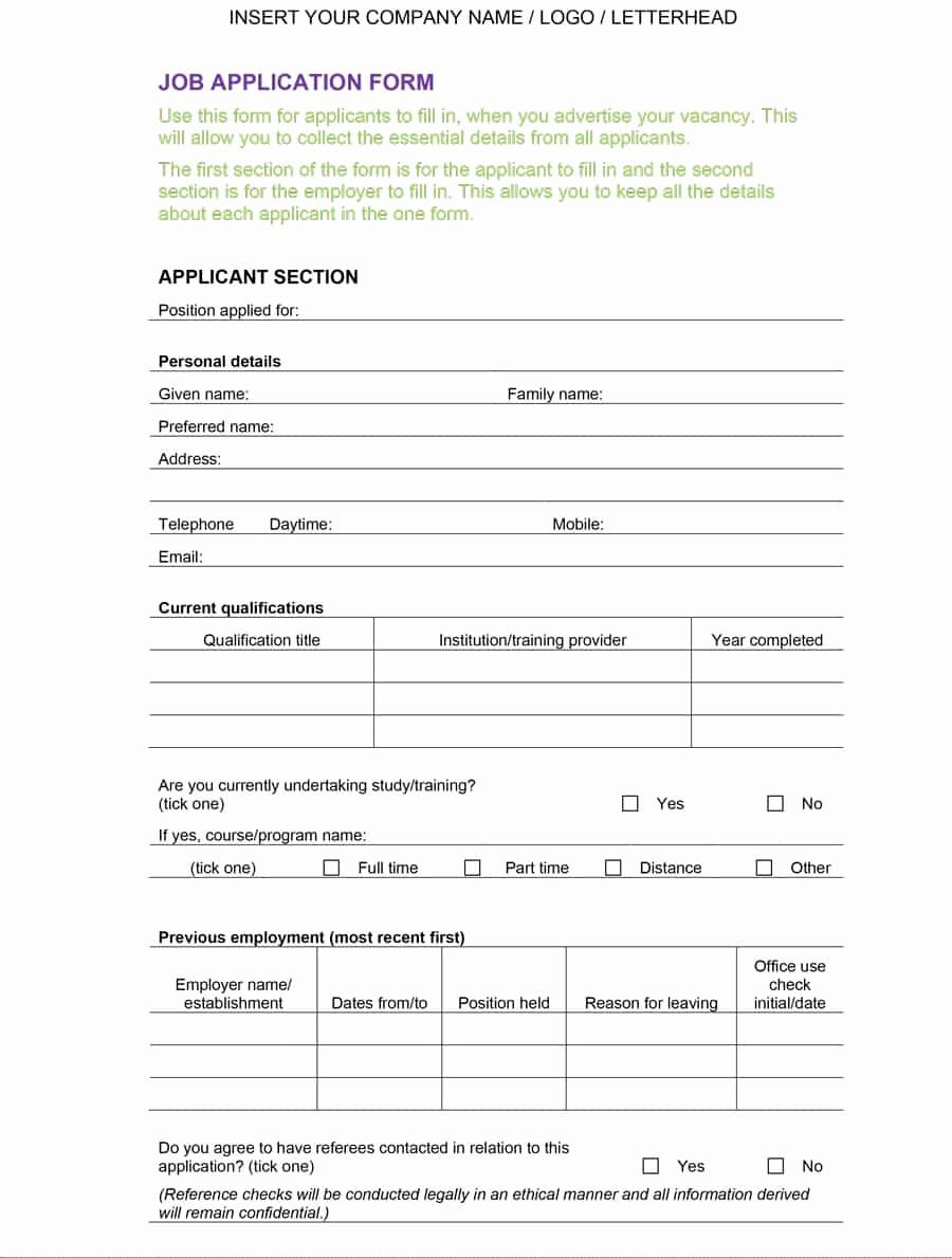 Job Application form Template Elegant 50 Free Employment Job Application form Templates