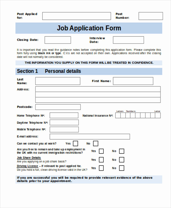 Job Application form Template New 35 Free Job Application form Template