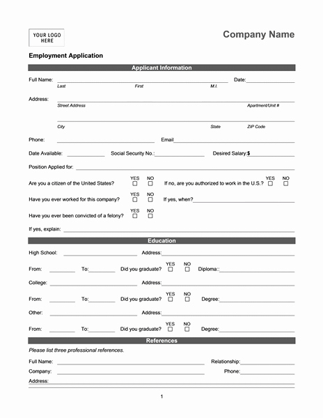 Job Application Template Doc Awesome Employment Application Online